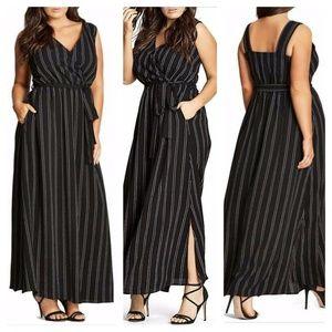 [City Chic] Pinstripe Side Slit Maxi Dress